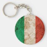 Bandera italiana rugosa llaveros