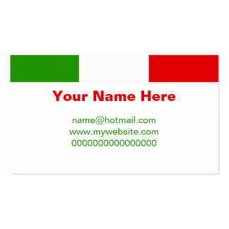 Bandera italiana tarjetas de visita