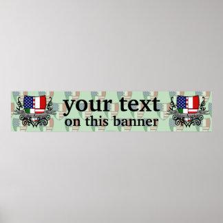Bandera Italiano-Americana de la bandera del escud Póster