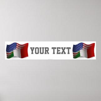 Bandera Italiano-Americana de la bandera que agita Póster