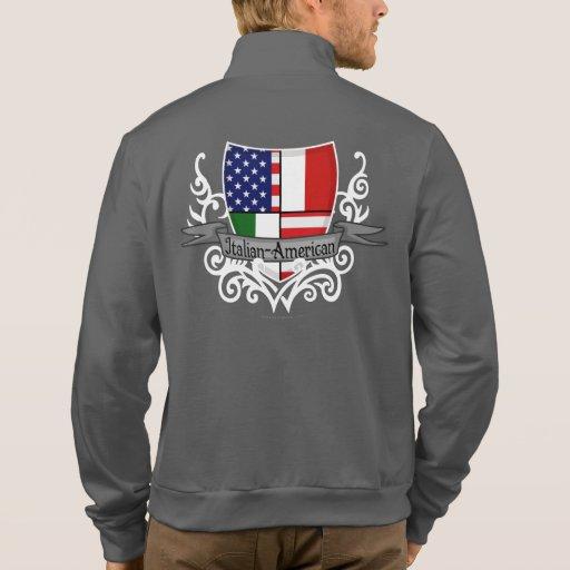 Bandera Italiano-Americana del escudo Chaquetas Deportivas Imprimidas