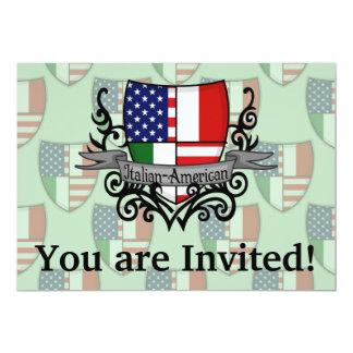"""Bandera Italiano-Americana del escudo Invitación 5"""" X 7"""""""
