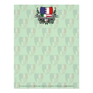 Bandera Italiano-Americana del escudo Membrete Personalizado