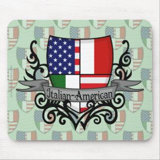 Bandera Italiano-Americana del escudo Mousepad