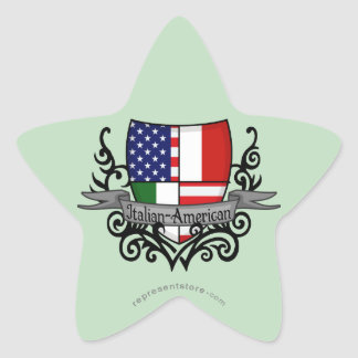 Bandera Italiano-Americana del escudo Pegatina Forma De Estrella Personalizada