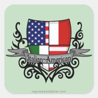 Bandera Italiano-Americana del escudo Pegatina Cuadradas Personalizadas