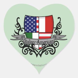 Bandera Italiano-Americana del escudo Pegatina En Forma De Corazón