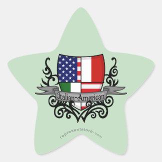 Bandera Italiano-Americana del escudo Pegatina En Forma De Estrella