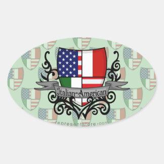Bandera Italiano-Americana del escudo Pegatina Ovalada