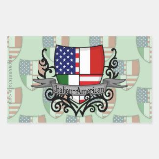 Bandera Italiano-Americana del escudo Pegatina Rectangular