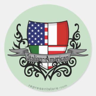 Bandera Italiano-Americana del escudo Pegatina Redonda