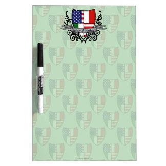 Bandera Italiano-Americana del escudo Pizarras Blancas De Calidad
