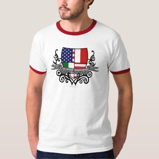 Bandera Italiano-Americana del escudo Polera