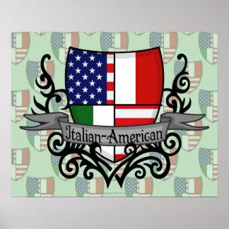 Bandera Italiano-Americana del escudo Póster