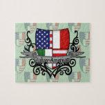 Bandera Italiano-Americana del escudo Puzzles