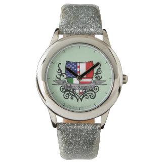 Bandera Italiano-Americana del escudo Reloj De Mano