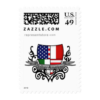Bandera Italiano-Americana del escudo Franqueo