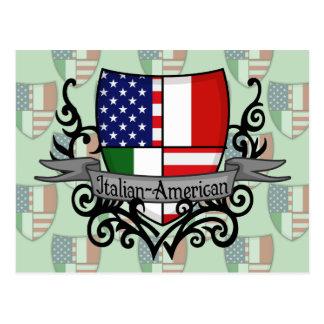 Bandera Italiano-Americana del escudo Tarjeta Postal