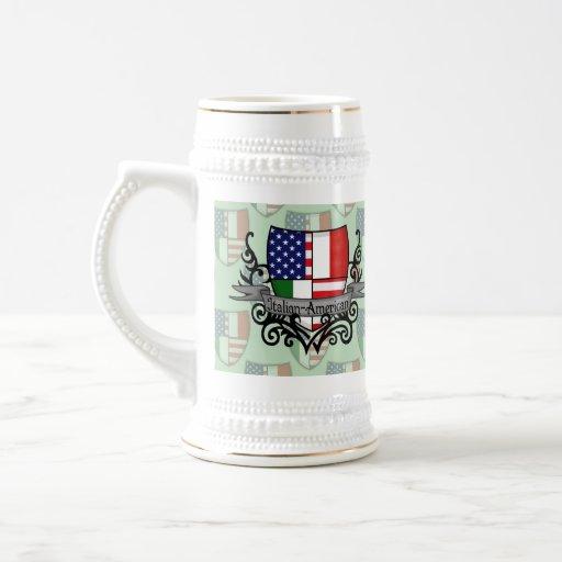 Bandera Italiano-Americana del escudo Taza De Café