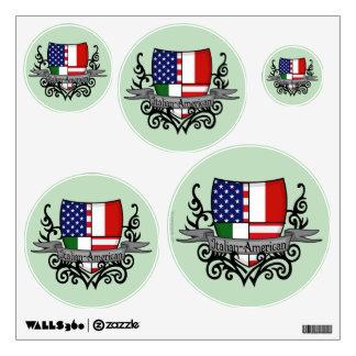 Bandera Italiano-Americana del escudo Vinilo