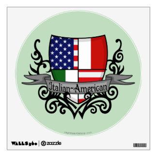 Bandera Italiano-Americana del escudo Vinilo Adhesivo