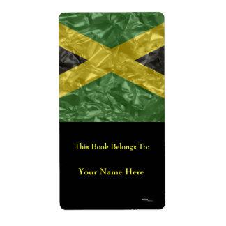 Bandera jamaicana - arrugada etiqueta de envío