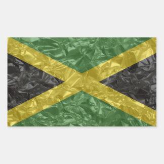 Bandera jamaicana - arrugada rectangular pegatina