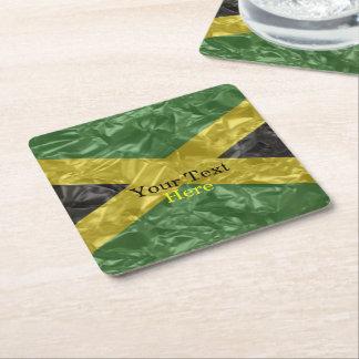 Bandera jamaicana - arrugada posavasos desechable cuadrado