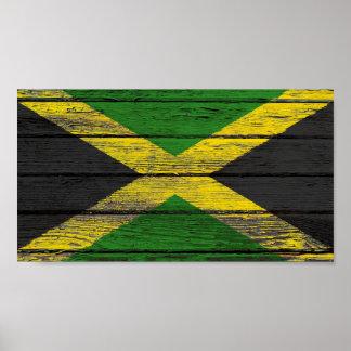 Bandera jamaicana con efecto de madera áspero del  poster