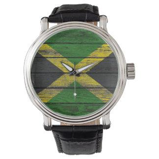 Bandera jamaicana con efecto de madera áspero del reloj