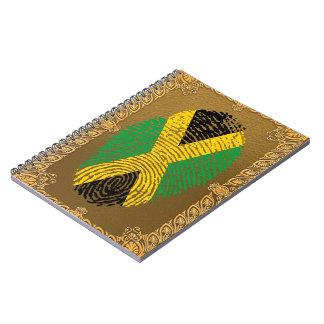 Bandera jamaicana de la huella dactilar del tacto libretas espirales