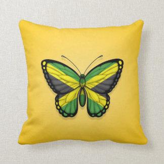 Bandera jamaicana de la mariposa en amarillo cojin