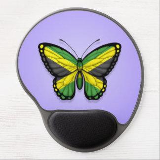 Bandera jamaicana de la mariposa en púrpura alfombrilla de ratón con gel