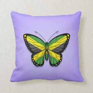 Bandera jamaicana de la mariposa en púrpura cojines