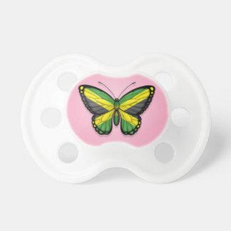 Bandera jamaicana de la mariposa en rosa chupete