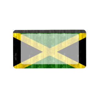 Bandera jamaicana de madera etiqueta de dirección