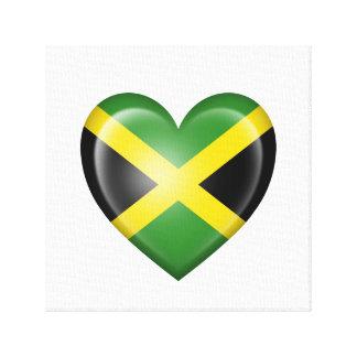 Bandera jamaicana del corazón en blanco impresión en lona estirada