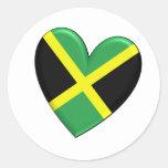 Bandera jamaicana del corazón etiquetas redondas