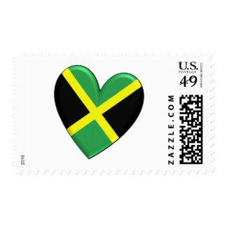 Bandera jamaicana del corazón sello postal