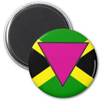 Bandera jamaicana del orgullo gay imán redondo 5 cm