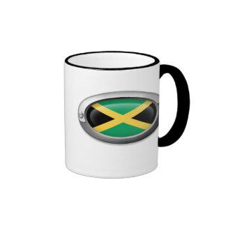 Bandera jamaicana en el marco de acero taza