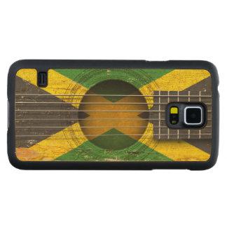 Bandera jamaicana en la guitarra acústica vieja funda de galaxy s5 slim arce