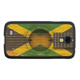 Bandera jamaicana en la guitarra acústica vieja funda de galaxy s4 slim arce