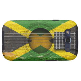 Bandera jamaicana en la guitarra acústica vieja galaxy SIII carcasas
