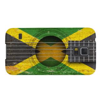 Bandera jamaicana en la guitarra acústica vieja fundas para galaxy s5