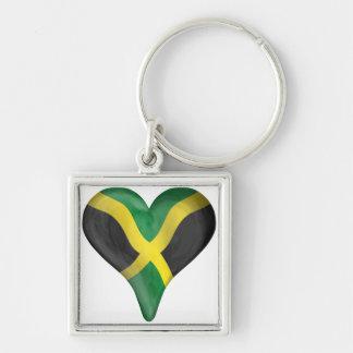 Bandera jamaicana en un corazón llavero cuadrado plateado