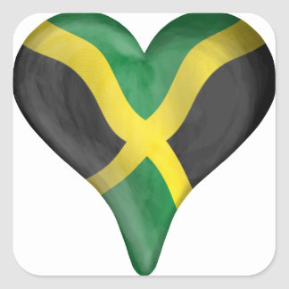 Bandera jamaicana en un corazón pegatina cuadrada
