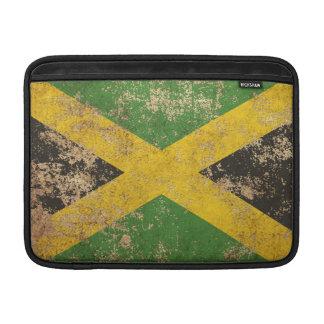 Bandera jamaicana envejecida áspera del vintage funda para macbook air