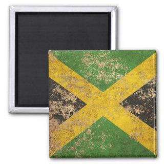 Bandera jamaicana envejecida áspera del vintage imán para frigorífico