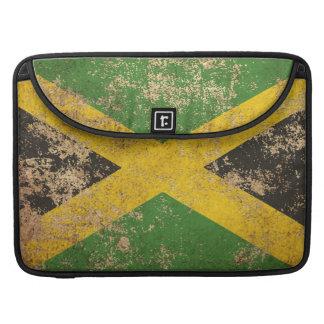 Bandera jamaicana envejecida áspera del vintage funda para macbooks